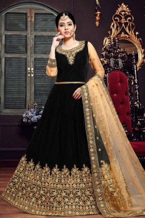 Stylish Black Embroidered Velvet Anarkali Suit With Net Dupatta