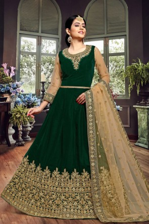 Excellent Green Embroidered Velvet Anarkali Suit With Net Dupatta