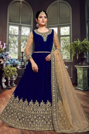 Elegant Blue Embroidered Designer Velvet Anarkali Suit With Net Dupatta