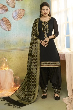 Black Chanderi Fabric Embroidered Designer Patiala Suit With Banarasi Silk Dupatta