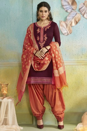 Maroon Chanderi Fabric Embroidered Designer Patiala Suit With Banarasi Silk Dupatta