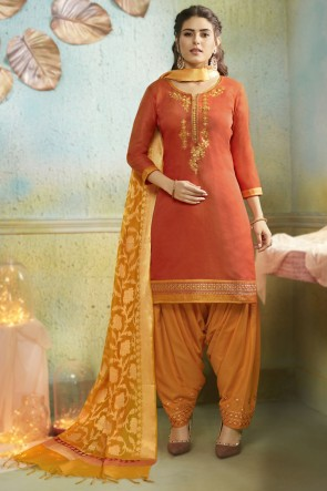 Orange Embroidery Work Chanderi Fabric Patiala Suit And Cotton Silk Bottom