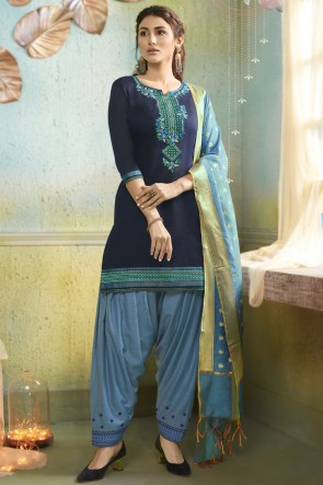 Chanderi Fabric Navy Blue Embroidery Work Designer Patiala Suit With Banarasi Silk Dupatta
