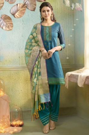 Cotton Silk Bottom Turquoise Chanderi Fabric Embroidered Patiala Suit With Banarasi Silk Dupatta
