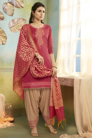 Embroidered Designer Peach Chanderi Fabric Patiala Suit And Cotton Silk Bottom