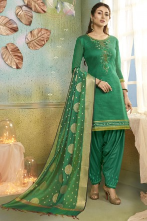Classic Embroidered Designer Rama Chanderi Fabric Patiala Suit With Banarasi Silk Dupatta
