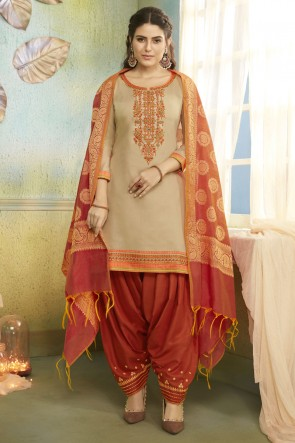 Optimum Chanderi Fabric Beige Embroidered Patiala Suit With Banarasi Silk Dupatta