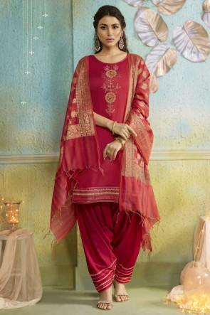Red Embroidery Work Designer Chanderi Fabric Patiala Suit And Cotton Silk Bottom