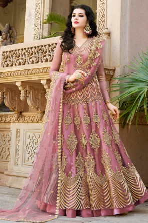 Beautiful Wine Net Embroidered Anarkli Suit And Dupatta