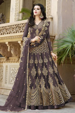 Charming Brown Embroidered Net Anarkli Suit And Dupatta