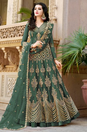 Green Net Embroidered Anarkli Suit And Dupatta