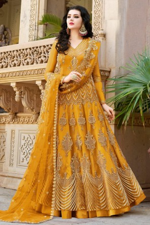 Designer Yellow Embroidered Net Anarkli Suit And Dupatta