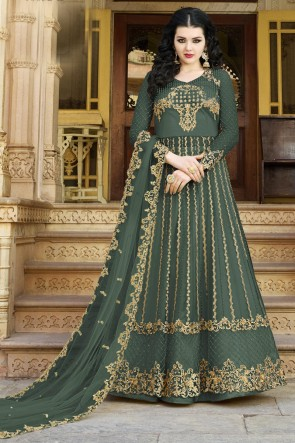 Net Fabric Beads Work And Zari Work Green Abaya Style Anarkali Suit And Satin Bottom