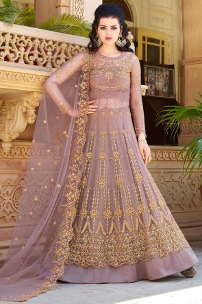 Zari Work And Embroidered Wine Net Fabric Abaya Style Anarkali Suit And Dupatta