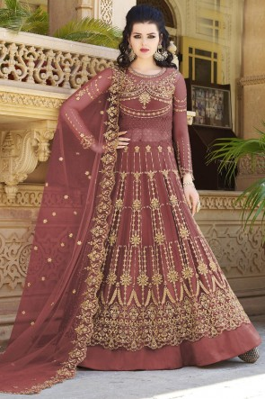 Stone Work And Beads Work Peach Net Fabric Abaya Style Anarkali Suit And Dupatta