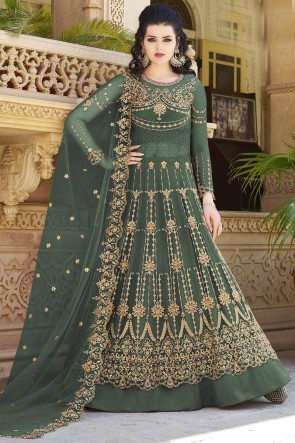 Beads Work And Zari Work Green Net Fabric Abaya Style Anarkali Suit And Satin Bottom