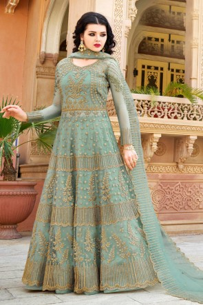Aqua Embroidered Net Anarkli Suit And Dupatta