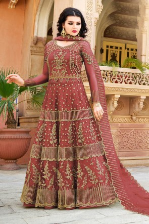 Embroidered Brown Net Anarkli Suit And Dupatta