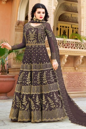 Coffee Net Embroidered Anarkli Suit And Dupatta