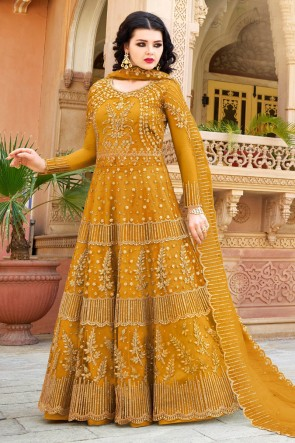 Yellow Designer Net Embroidered Anarkli Suit And Dupatta