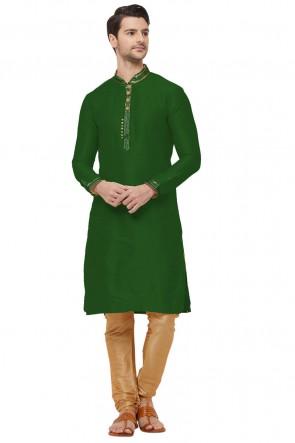 Ultimate Green Dhupion Fabric Designer Kurta Pajama