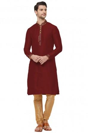 Maroon Dhupion Fabric Designer Kurta Pajama