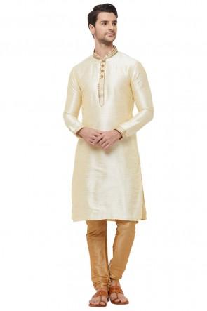 Lovely Off White Dhupion Fabric Designer Kurta Pajama