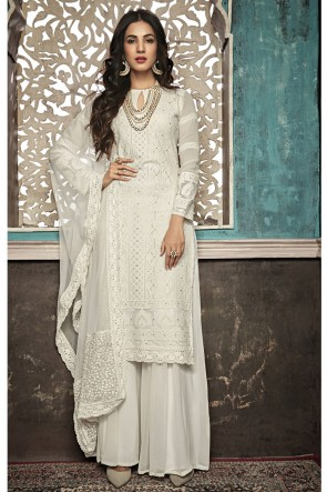 Sonal Chauhan Charming Off White Embroidered Faux Georgette Plazzo Suit With Net Dupatta