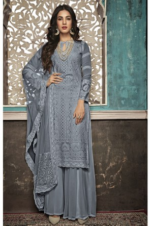 Sonal Chauhan Marvelous Grey Embroidered Faux Georgette Plazzo Suit With Net Dupatta