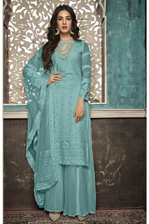 Sonal Chauhan Lovely Sea Green Embroidered Faux Georgette Plazzo Suit With Net Dupatta