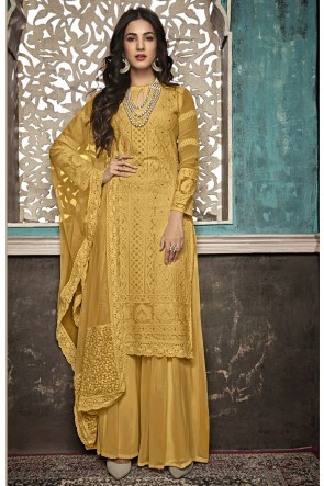 Sonal Chauhan Yellow Embroidered Faux Georgette Plazzo Suit With Net Dupatta