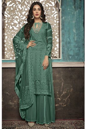 Sonal Chauhan Delightful Mehendi Green Embroidered Faux Georgette Plazzo Suit With Net Dupatta