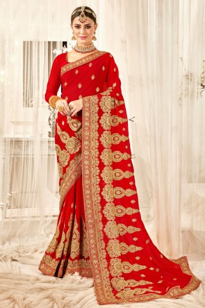 Delightful Georgette Fabric Embroidered And Zari Work Designer Red Saree And Blouse