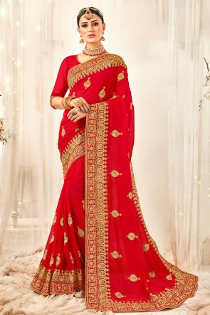 Awesome Red Embroidered And Zari Work Designer Georgette Fabric Saree And Blouse