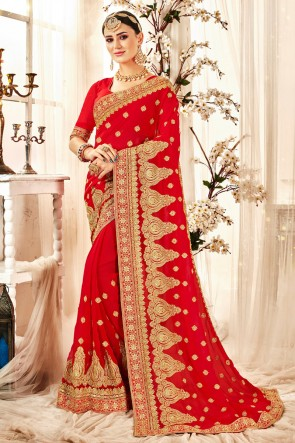 Georgette Fabric Red Embroidered And Zari Work Designer Saree And Blouse