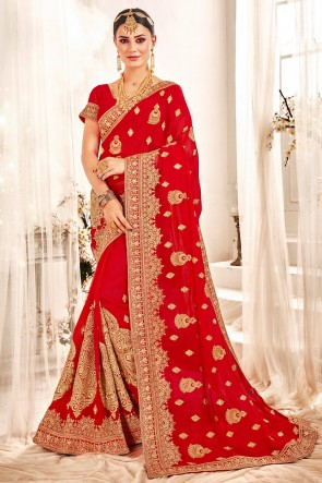 Party Wear Red Embroidered And Zari Work Designer Georgette Fabric Saree And Blouse