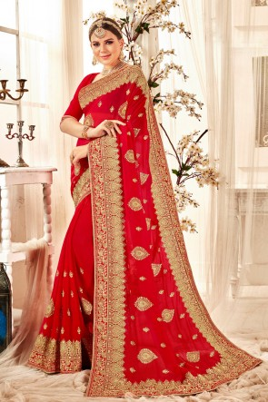 Stunning Embroidered And Zari Work Designer Red Georgette Fabric Saree And Blouse