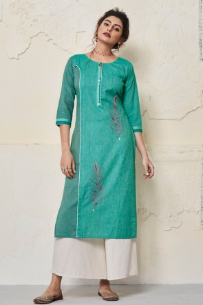 Beautiful Aqua Cotton Hand Work Kurti