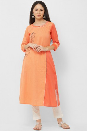 Ultimate Orange Cotton Hand Work Kurti