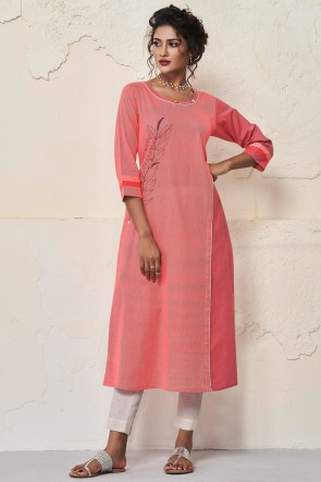 Gorgeous Rust Cotton Hand Work Kurti
