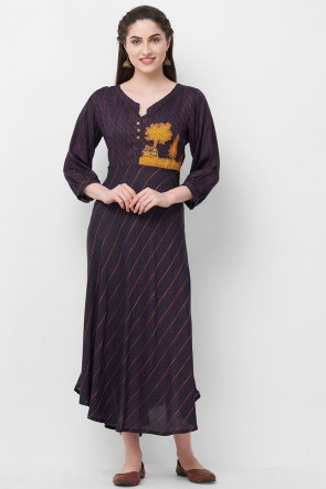 Hand Work Charcoal Rayon Office Wear Kurti