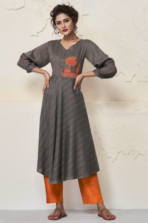 Optimum Grey Rayon Hand Work Kurti