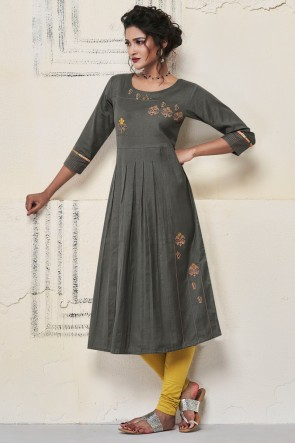 Admirable Grey Rayon Hand Work Kurti