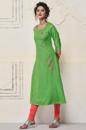 Classic Green Rayon Hand Work Kurti