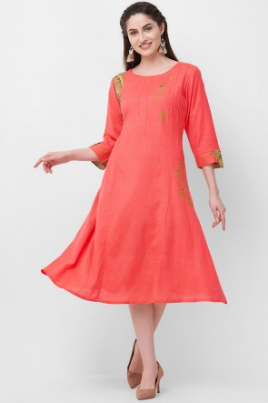 Admirable Peach Rayon Hand Work Kurti