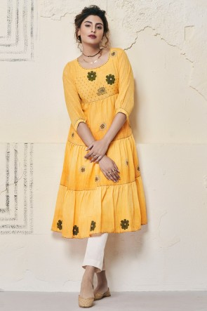 Beautiful Yellow Cotton Hand Work Kurti