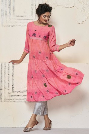 Marvelous Pink Cotton Hand Work Kurti