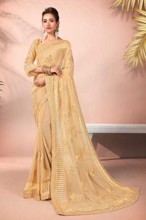 Georgette Fabric Cream Embroidered Designer Saree And Blouse