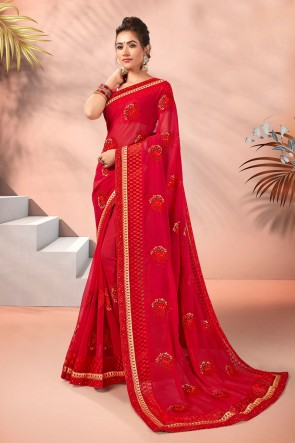 Delightful Georgette Fabric Embroidered Designer Red Saree And Blouse