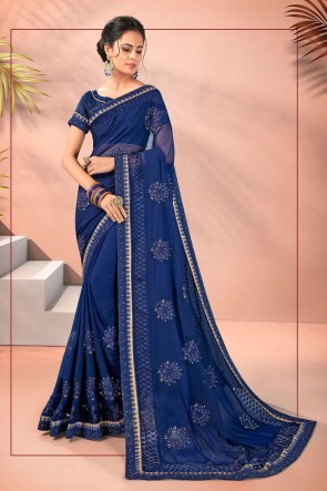 Embroidered Designer Georgette Fabric Blue Saree And Blouse